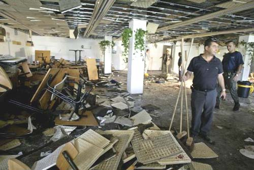 Scene of a terror attack at the cafeteria at the Hebrew University's Mount Scopus in 2002 (Photo: AP)