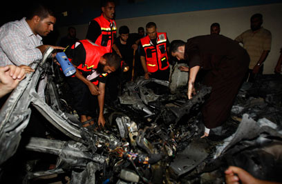 Remnants of the Islamic Jihad operative's car targeted overnight (Photo: Reuters)