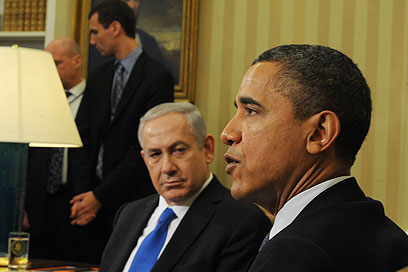 Netanyahu and Obama. What does the prime minister think he is achieving here that he couldn't achieve in a different, less oppositional and less arrogant manner? (Photo: Amos Ben Gershom, GPO)