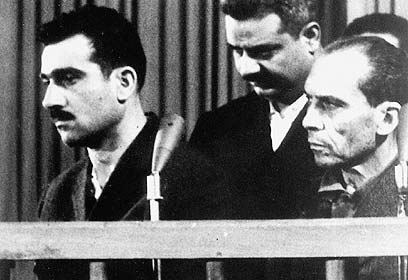 Eli Cohen, left, on trial in Damascus in 1965. (Photo: AFP) (Photo: AFP)