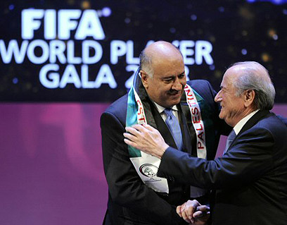 Archive: The chair of the Palestinian Football Association Jibril Rajoub with former FIFA head Sepp Blatter (Photo: AFP)