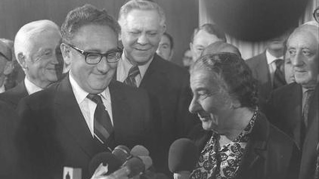 Henry Kissinger and Golda Meir in (Archive Photo: GPO)