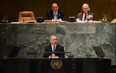 Ambassador Prosor (top left) watches Prime Minister Netanyahu address the UN General Assembly.  'This policy is leading Israel to its end as a state with a stable Jewish majority' (Photo: Shahar Azran)