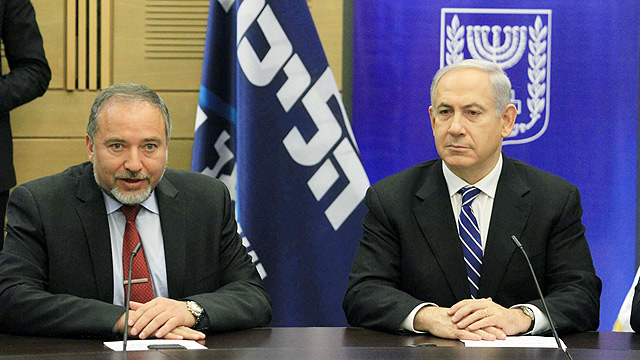 Lieberman and Netanyahu, trying to upstage one another (Photo: Gil Yohanan)
