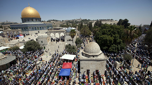 Muslims praying on the Temple Mount