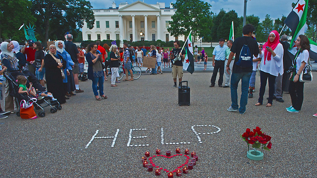 Protesting the White House for Syria (Photo: AFP)