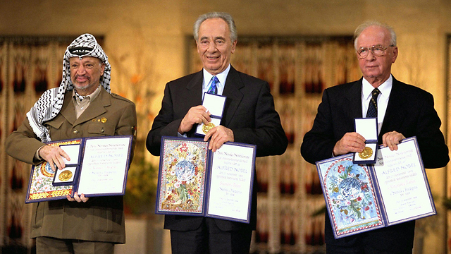 Yasser Arafat, Shimon Peres, and Yizhak Rabin receive the Nobel Peace Prize for Signing the Oslo Accords. Where has Israel's left gone since this time of high hopes? (Photo: Gettyimages) (Photo: Getty Images)