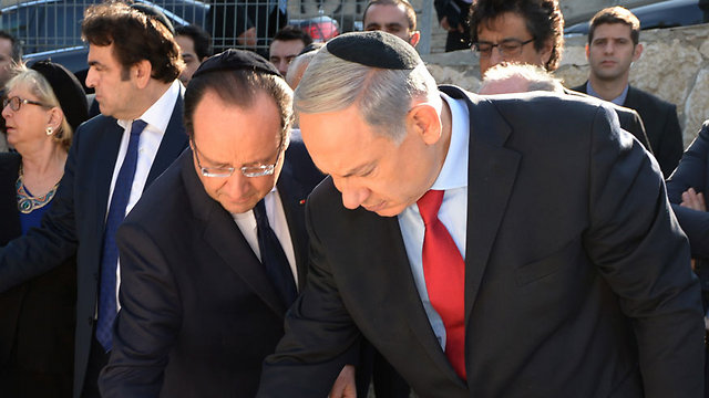 Prime Minister Netanyahu and French President Hollande (Photo: GPO)