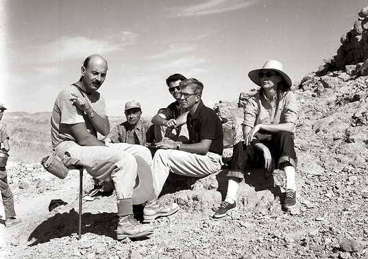 Volunteers arrived from all over the world. Yigael Yadin with team of researchers on Masada