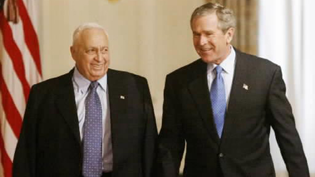 Bush and Sharon. Israel unilaterally cancelled clause talking about a complete construction freeze in all settlements which was included in road map for peace (Photo: Reuters)