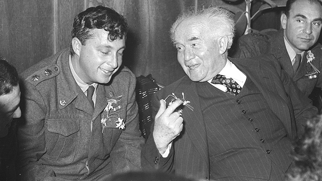 David Ben-Gurion (right). He did not found the Jewish state in order to prevent future disasters (Photo: Courtesy of the IDF archives, Bamahane)