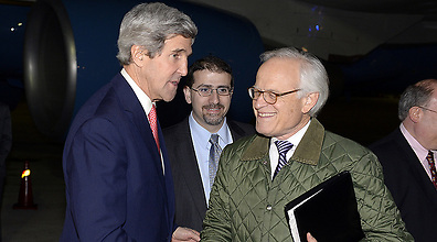 US Secretary of State John Kerry and Martin Indyk at the US Embassy in Tel Aviv last month (Photo: Matty Stern/US Embassy)