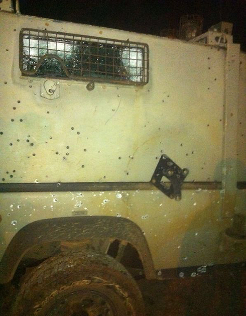 The jeep damaged by the explosive device