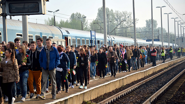 March of Life leaving from Hungary to Auschwitz (Photo:Yossi Zeliger)