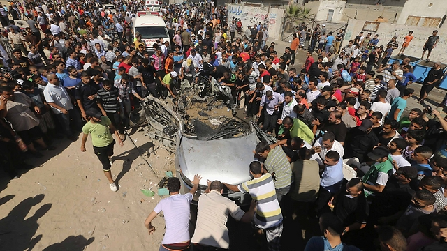 A car targeted by the IAF earlier Friday. (Photo: Reuters) (Photo: Reuters)