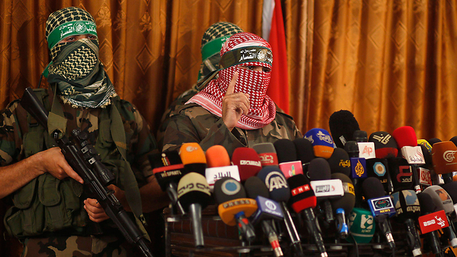 Press conference convened by Hamas' military wing in Gaza (Photo: Reuters)