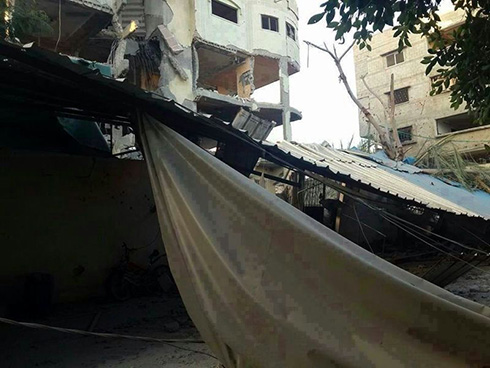 Home of Hamas co-founder Mahmoud al-Zahar after being hit in IAF strike.