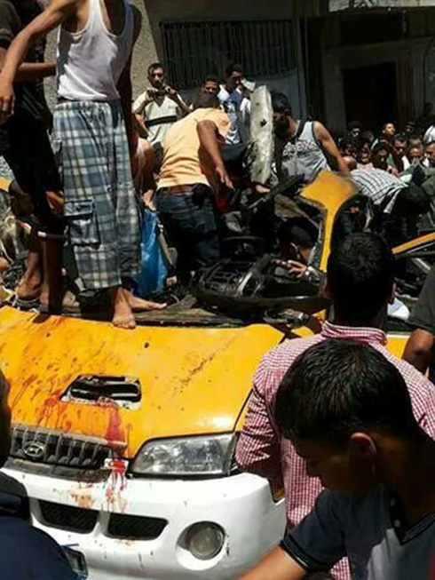 The car that was targeted in Khan Younis.