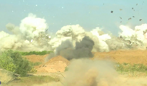 Engineering forces blow up one of the tunnels (Photo: IDF Spokesman's Office)