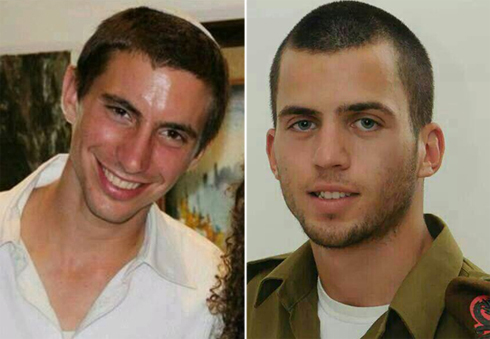 Oron Shaul (right) and Hadar Goldin, both killed in Gaza last year.