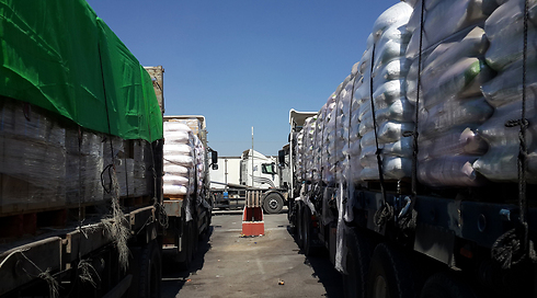 An average of 523 trucks a day passed through the Kerem Shalom Crossing into Gaza in April (Archive photo: Roi Idan)