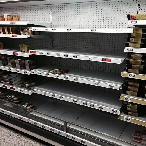 Empty kosher food shelves at Sainsbury's in Holbon (Photo: Colin Appleby on Twitter)