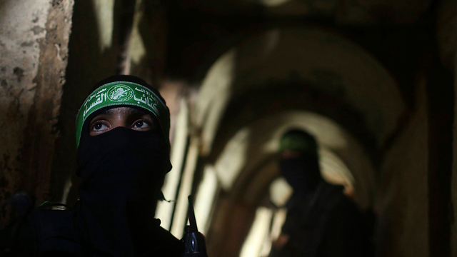 Hamas fighters in one of the tunnels (Photo: Reuters) (Photo: Reuters)