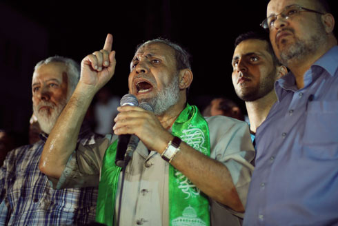 Mahmud Zahar leaving his bunker in Gaza following Operation Protective Edge (Photo: Reuters) (Photo: Reuters)