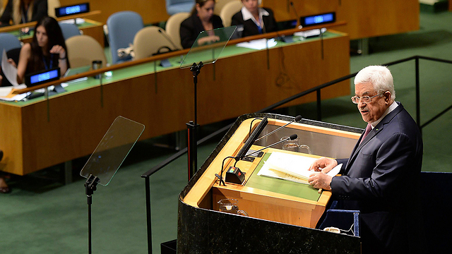 Abbas addresses UN General Assembly. He chose a diplomatic solution, risking an American veto (Photo: AFP)