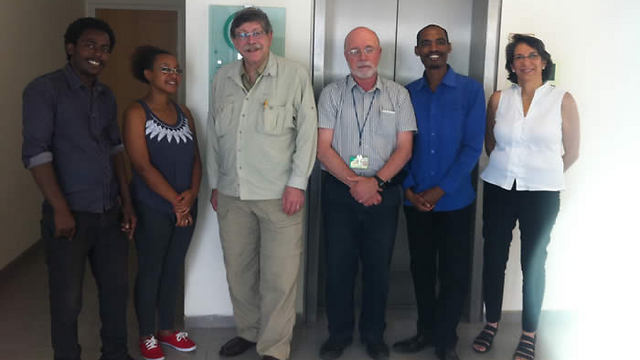 The Ethiopian doctoral students - Workey Tigabie, Naomi Teshome, and Hailemaryam Alemu with Dr. Richard Deckelbaum, Dr. Mark Clarfield and Dr. Lynne Quittell.