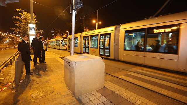 Concrete barriers placed in front of light rail stations in Jerusalem (Photo: Gil Yohanan)