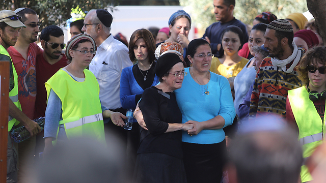 Friends and family mourn terror victim Dalia Lemkus. (Photo: Gil Yohanan) (Photo: Gil Yohanan)