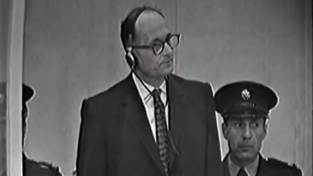 Adolf Eichmann on trial in Jerusalem in 1961. Abbas claimed he was seized by Mossad to hide Zionist collusion with the Nazi regime.
