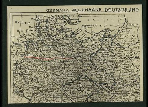 The route the photographer took (in red) from the border, through Hanover, to Berlin (Photo courtesy of the National Library)