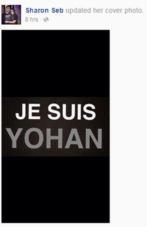 From Sharon Seb's Facebook: 'Je Suis Yohan'