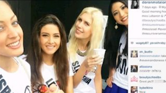 Miss Israel with Miss Lebanon in flashpoint selfie