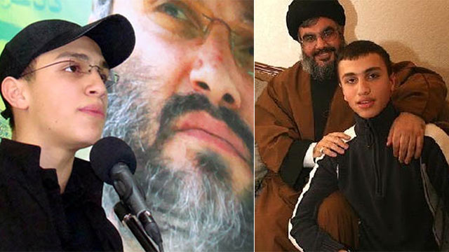 Nasrallah with Jihad Mughniyeh - son of former Hezbollah military leader - who was killed in alleged Israeli air strike