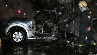The vehicle in which the deadly bomb was hidden (Photo: AFP)