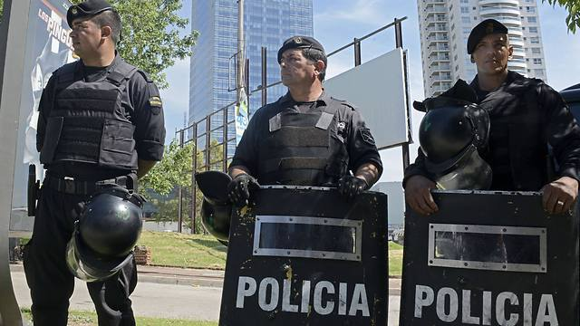 Security forces stand guard near the Israeli embassy in Montevideo after a suspicious package was found in January (Photo: AFP)