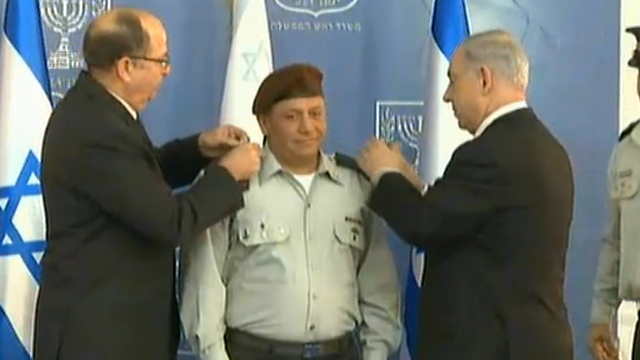 Netanyahu and Ya'alon appoint Eisenkot as new IDF Chief of Staff. (Photo: Offer Meir)