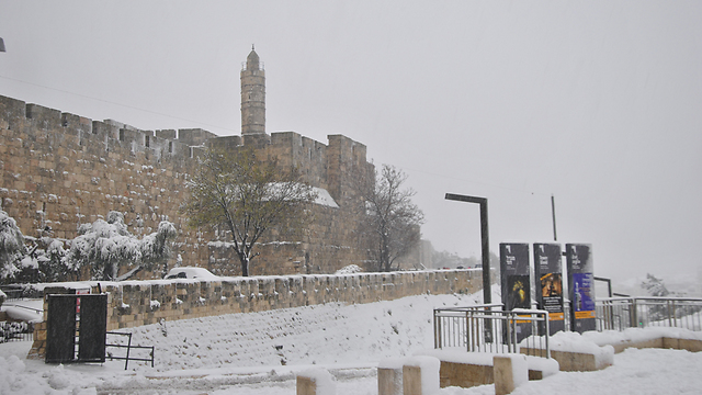 The Tower of David covered in snow (Photo: Ofer Meir)
