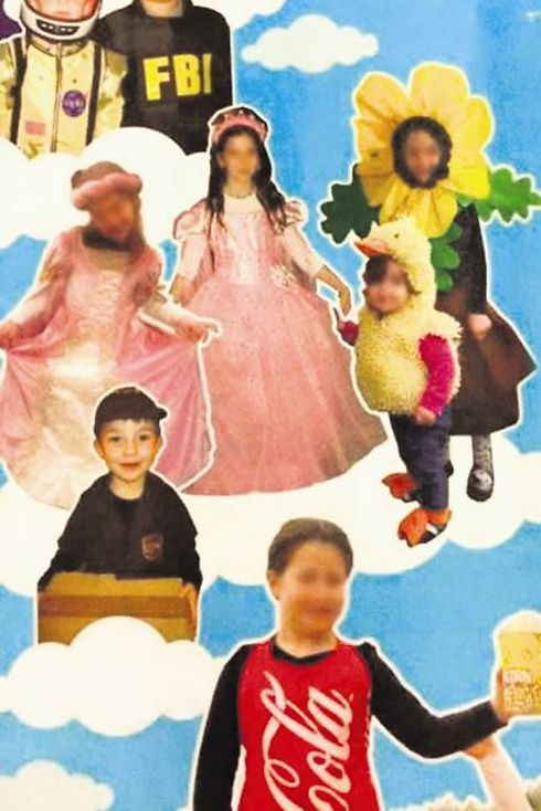 Girls' faces blurred in Purim ad