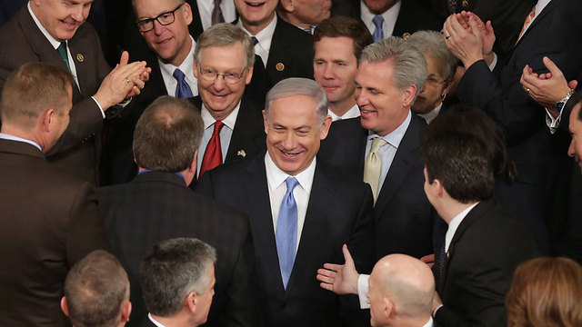 Netanyahu after his speech to the US Congress in February against the Iran nuclear deal (Photo: AFP)