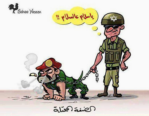 Caricature of Palestinian security forces as IDF's dog