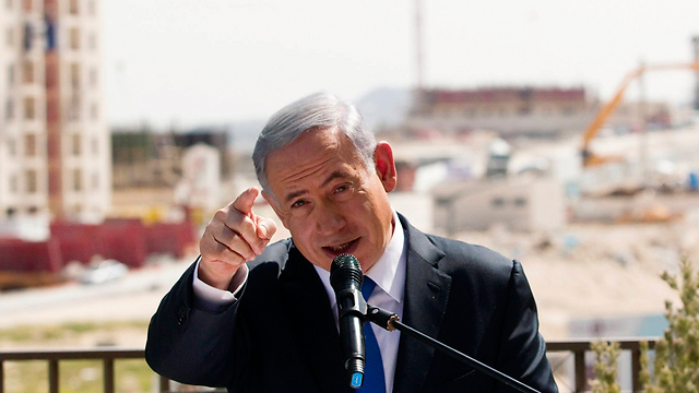 Netanyahu at Har Homa declaring his rejection of a Palestinian state (Photo: Reuters)