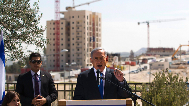 Netanyahu visits East Jerusalem neighborhood Har Homa a day before the elections (Photo: Reuters)