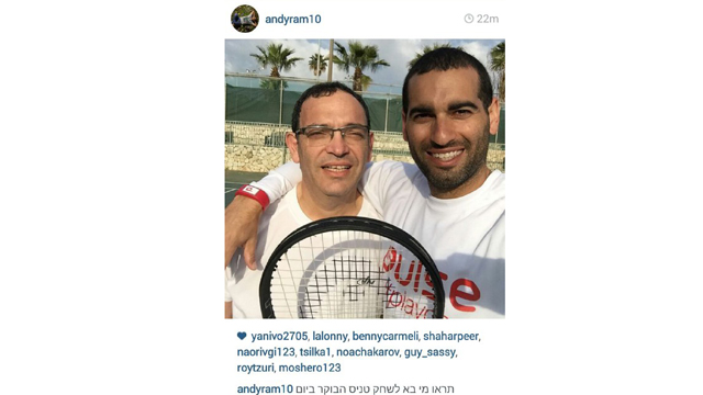 Yesh Atid's Shai Piron catches an Election Day match with Israeli tennis star Andy Ram