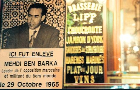 "Sign outside of Brasserie Lipp where Barka was kidnapped reads ""Ben Barka was kidnapped here."""
