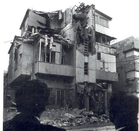 The Savoy Hotel after the attack, with its top floor in ruins after terrorists set off explosives (Photo: IDF Spokesman)