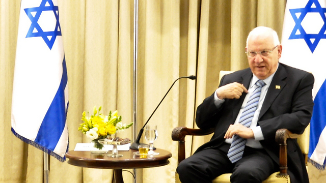 Reuven Rivlin in conversation with the media at his official residence in Jerusalem (Photo: President's Office)